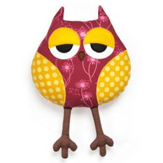 Sleepy Owl cushion pillow toy pattern | YouCanMakeThis.com