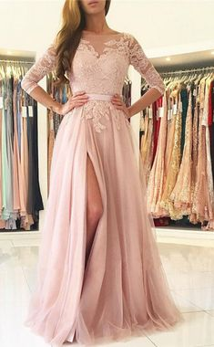 Pink Long Prom Dress,Lace Long Sleeves A-line Split #prom #promdress #dress #eveningdress #evening #fashion #love #shopping #art #dress #women #mermaid #SEXY #SexyGirl #PromDresses