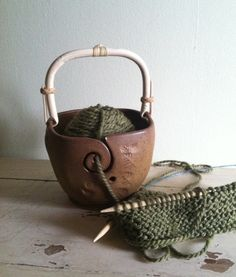 Yarn Bowl Knitting bowl with handle Handmade by redhotpottery, $40.00