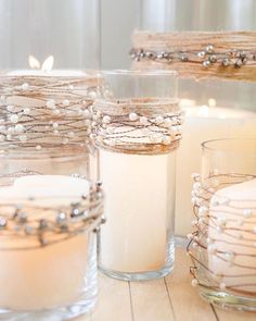 wire and rustic twine centerpiece candles  #rustic #cute #love #wedding #country #candles