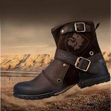 Otto tapa zona calidad hechos a mano de cuero genuino de la vaca botines botas Martin moda con la piel de invierno de hombre zapatos del remache de la ue 38-45(China (Mainland))