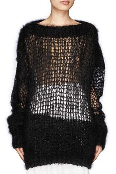 Solid Color Mesh Long Sleeve Sweater