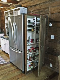 Great idea! Efficient way to store spices, wine, extra bottles of all your favorite condiments :)
