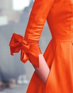 Vintage 1950's Dress with bow detail-Koi Orange