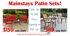 GREAT DEAL! Grab a new patio set for as low as $89! Save up to $110! 3 pc or 4 pc sets! Free store pick up or free shipping!  Click the link below to get all of the details ► http://www.thecouponingcouple.com/mainstays-patio-sets/ #Coupons #Couponing #CouponCommunity  Visit us at http://www.thecouponingcouple.com for more great posts!