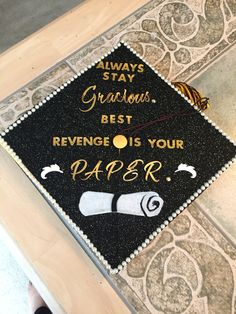 Decorated Graduation Cap with Beyonce Quote.