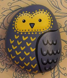 Painted owl pebble - Pretty sure I'm gonna paint rocks for Christmas presents…