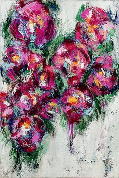 Flowers pink painting abstract art No Place I'd Rather Be by © Kirsten Reed Art