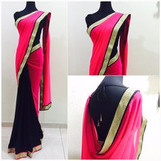 Lovely pink and black half and half Saree!!! Price : 106 SGD