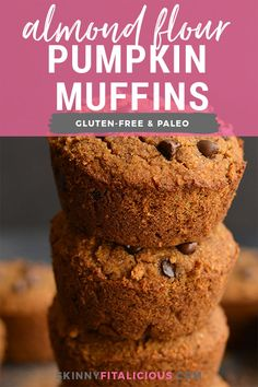 Paleo Almond Flour Pumpkin Muffins spiced with fall flavors and lightly sweetened. These muffins are soft, fluffy, quick to make and delicious! Make a batch for the week and setup yourself up with a healthy treat! Low Calorie Breakfast, Healthy Low Calorie Meals, Healthy Muffin Recipes, Healthy Muffins, Low Calorie Recipes, Healthy Treats, Diet Recipes, Breakfast Recipes, Dessert Recipes