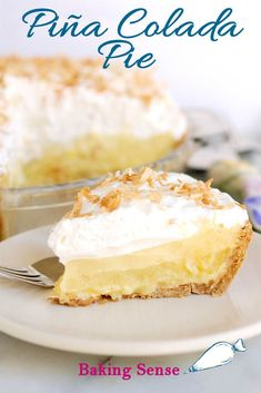"♩ ♪ ♫ ♬ If you like Pina Coladas...you'll love this pie! Coconut/Graham crust with pineapple/rum curd, coconut/rum cream and topped with toasted coconut. Make it a ""Virgin"" Colada without the rum. #recipe #rum #coconut #pineapple #how to #video #best"