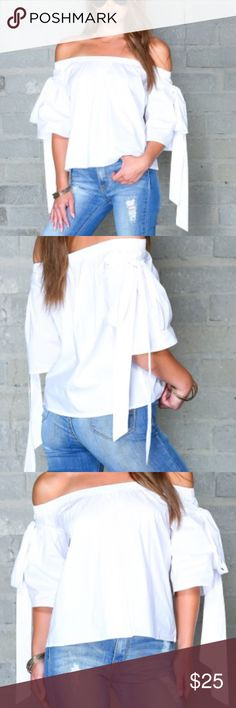Bell Sleeve Off Shoulder Top-Clothes Envy This super cute white top is crisp and comfy. Ties on the shoulders lend to a feminine look that perfectly pairs with jeans and booties. BNWT Clothes Envy Tops Blouses