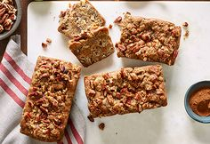 Spiced Apple-Pecan Loaf with Diamond Pecan Praline Topping. A perfect recipe for fall!