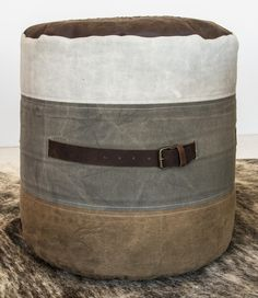 Put Dads feet up in style! Ottoman - Leather and recycled canvas ottoman.  This beautiful range has been crafted out of recycled stone washed canvas and leather with Amikah's distinctive antique star embedded into the design.   A great gift for dads and a natural office or lounge. #fathersday #ottoman #footstool #poof #giftsforhim #study #office #homewares