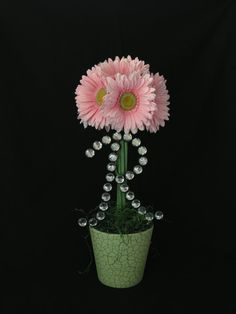 Pink Daisy Baby Shower Centerpiece with Bling Letter Initial Choose your color flowers! Only at thepetalhouse.etsy.com