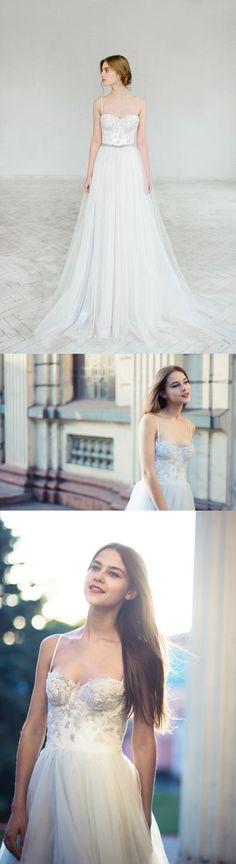 Tulle Wedding Dress, Spaghetti Straps Wedding Dress, A-Line Bridal Dress, Gorgeous Wedding Dress#weddingdress