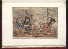 July 7,1808.Bodleian Libraries,Boney and his horse Talley returning to Paris with a Spanish cargo.Satire on the Peninsular war.(British political cartoon);Napoleon drives the carriage which is pulled by a horse with the head of Talleyrand (and a right front hoof resembling the shoe worn by Talleyrand on his lame leg). In the front seat of the carriage beside Napoleon sit the king and queen of Spain.Behind are the Prince of Asturias and Godoy,prince of the peace,both chained with iron…