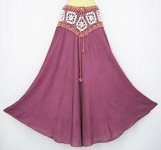PATTERNS FOR BOHO OR HIPPIE SKIRTS | Hippie Gypsy Beach Hawaiian Women Summer Long Bohemian Crochet ...