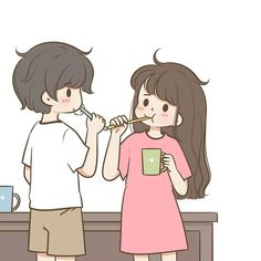 Cute Love Pictures, Cute Love Gif, Cute Couples Photos, Couple Photos, Chibi Couple, Couple Cartoon, Cartoon Kunst, Cartoon Art, Anime Chibi