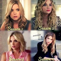 Ashley Benson as Hannah Marin--Seasons 1-4 Her hair looks great in all of them but i like season 2 and 4 hair