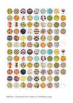 papier vintage - images digitales rond 16 mm  - 48 pieces differentes x 2 -  300 dpi