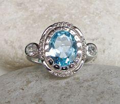 Blue Topaz Ring- Gemstone RIng- Art Deco Ring- Modern Ring- Contemporary Ring- Topaz Ring on Etsy, $279.99