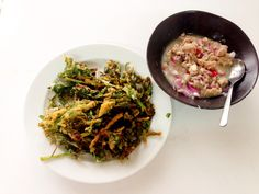 Deep fried morning glory with spicy coconut milk dressing. 1sttry.