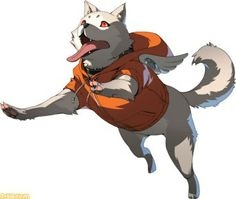 Koromaru as Ken's partner in Persona 4 Arena Ultimax