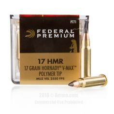 Federal 17 HMR Ammo - 50 Rounds of 17 Grain Polymer Tipped Ammunition #17HMR #17HMRAmmo #Federal #FederalAmmo #Federal17HMR #PolymerTip #FederalPremium