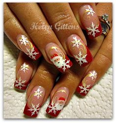 ) ♥ nail design More Source by Christmas Nail Art Designs, Winter Nail Designs, Winter Nail Art, Nail Polish Designs, Winter Nails, Autumn Nails, Santa Nails, Xmas Nails, Holiday Nails