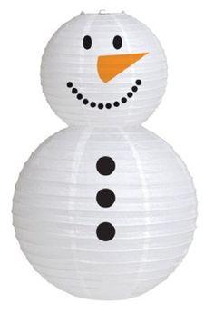 Lampion sneeuwpop, een decoratieve lampion gemaakt van 2 lampionnen. Verkrijgbaar bij www.candlebagplaza.nl