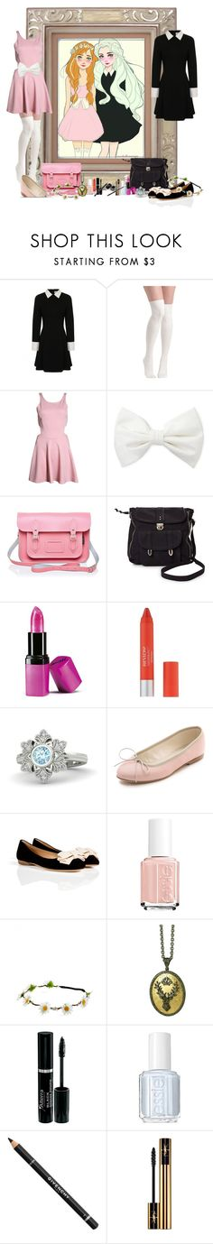 """""""Disney High School - Anna and Elsa"""" by not-by-sight ❤ liked on Polyvore featuring Boohoo, Forever 21, Pieces, Barry M, Disney, Anniel, Salvatore Ferragamo, Essie, Arman Sarkisyan and Givenchy"""