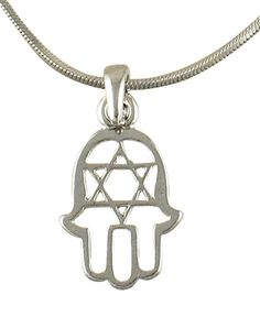 Hamsa Star of David Rhodium Necklace #JewishJewelry #Necklace ajudaica.com