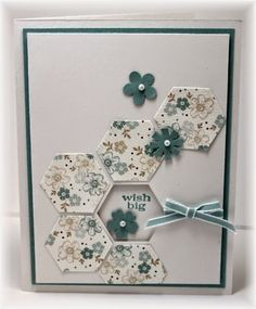 Stampin' Up! ... handmade card ... grouping of hexagons punched from patterned paper ... sentiment from inside card appers in hexagon window ... great detail to add a bit of Wow!