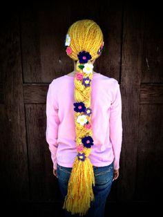 Disney Tangled Rapunzel Braid with Flowers Crochet Crochet Kids Hats, Crochet Beanie Hat, Crochet Wigs, Crochet Scarves, Crochet Yarn, Rapunzel Braid, Tangled Rapunzel, Disney Tangled, Yarn Wig