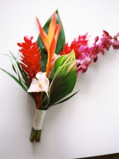 Tropical wedding boutonniere for the groom and groomsmen. Photography: Paula Player Photography