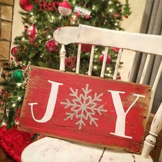 JOY, Reclaimed Barnwood Sign, Merry Christmas, Christmas Porch Sign, Horiztonal, Mantle Decor, Snowflake, Snow, Hand-painted Wooden Sign