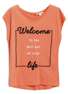 Buy FONTS PRINT C-NECK T-SHIRT (LT2O83) in online clothing shop O'STIN