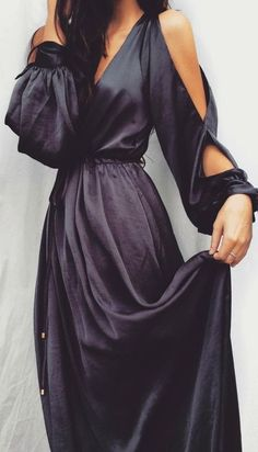 Owning It Charcoal Grey Satin Maxi Dress