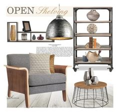 """""""Open Shelving"""" by arethaman ❤ liked on Polyvore featuring interior, interiors, interior design, home, home decor, interior decorating, TemaHome, Gus* Modern, CB2 and Cyan Design"""
