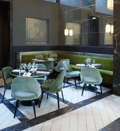 Monsieur Bleu restaurant in Paris, designed by Joseph Dirand. Via Margot Austin blog.