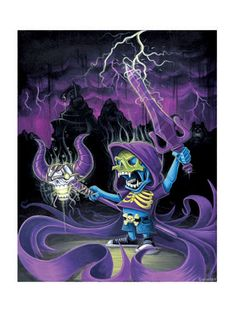 Now I Have the Power by artist Brandon Sopinsky- Skeletor from the 1980s cult classic cartoon and toy series, He-Man Masters of the Universe, raises his sword and staff in stolen power and madness. The strange thing is, he is dressed in urban themed street cloths and small like a kid. Limited edition Giclée art print artwork by famous artist Brandon Sopinsky.