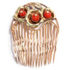 GOLD 585: KORALLEN KAMM um 1910, Haarkamm Steckkamm Koralle, Coral Hair Comb 14K