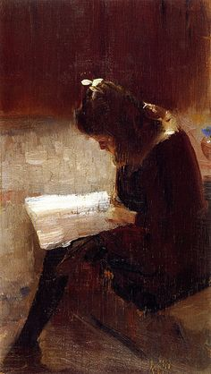 Tom Roberts; Harper's Weekly (1889, oil on wood panel, 24.0 x 14.4 cm). The painting is in the collection of the National Gallery of Victoria.
