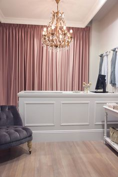 velvet curtains in the Lilee Pink - for the potential dressing room or behind the cash wrap