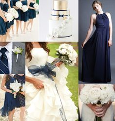 Navy is always a classic! Bridesmaid dress (pictured right) by LHC Couture.