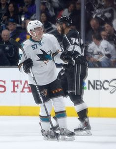 San Jose Sharks forward Tommy Wingels is all smiles after his second period goal, his second goal of the game (Oct. 8, 2014).