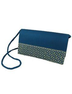 Sac à main de mode - Pochette bleue en viscose avec broderies artisanales - Mode femme: Amazon.fr: Vêtements et accessoires