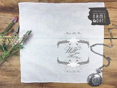 Bride's wedding proposal pocket square 'Will by PrintmadeStudio