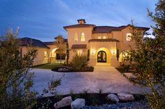 Copper Ridge Elevation at Night Texas Homes, New Homes, Mediterranean Homes, Room Planning, Custom Homes, Beautiful Homes, House Plans, Copper, Exterior